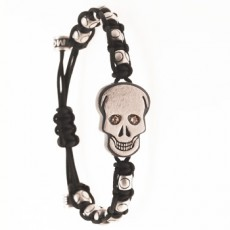 PULSERA SKULL BRILLANTES MARRONES