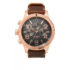 RELOJ NIXON 48-20 CHRONO LEATHER ROSA