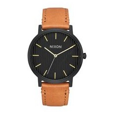 RELOJ NIXON PORTER LEATHER BLACK/STAMPED