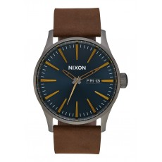 RELOJ NIXON SENTRY LEATHER GUNMETAL INDIGO