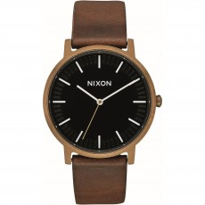 RELOJ NIXON PORTE LEATHER BRASS BLACK BROWN