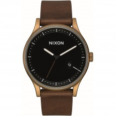 RELOJ NIXON STATION LEATHER BRASS BLACK BROWN