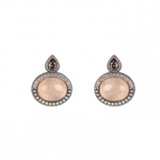 PENDIENTES SUNFIELD FEUILLE ROSE