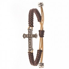 PULSERA CROSS BROWN XL